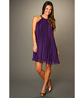 Halston Heritage - Iridescent Pleated A-Line Dress with Neck Embellishment