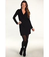 Halston Heritage - Long Sleeve Matte Jersey Dress with Twist Front Detail