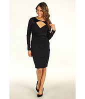 Halston Heritage - Long Sleeve Dress with Diamond Open Front and Satin Contrast