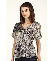 Halston Heritage - Short Sleeve Wrap Front Top in Alluvial Print