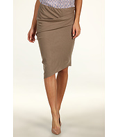 Halston Heritage - Wool Pencil Skirt with Draped Waist and Asymmetrical Hem
