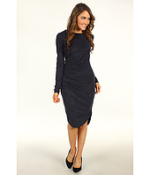 Halston Heritage - Long Sleeve Fishtail Hem Draped Dress