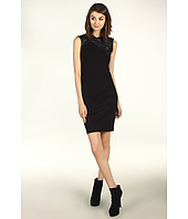 Halston Heritage - Sleeveless Ponte Dress with Pleated Leather Trim