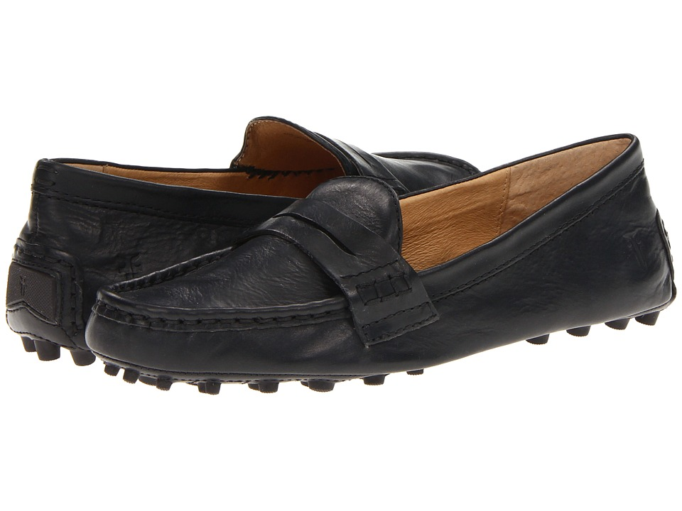 Frye Rebecca Penny Black Soft Vintage Leather Womens Slip on Shoes