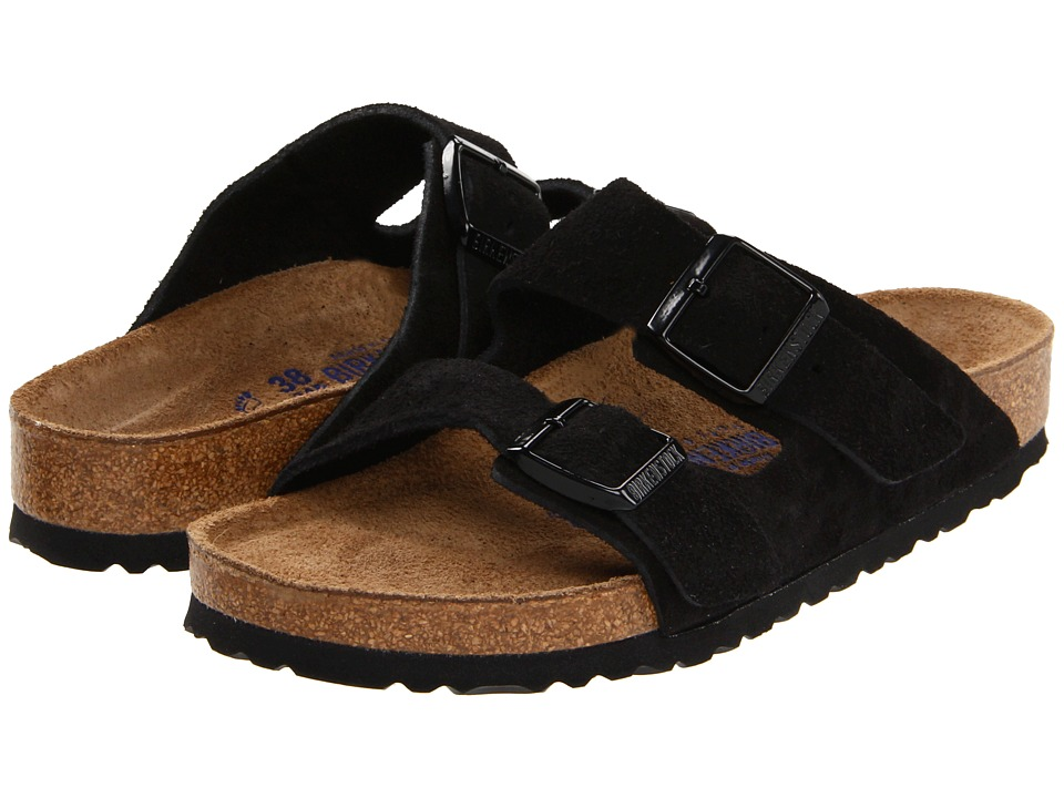 Birkenstock Arizona Soft Footbed Suede (Unisex) (Black Suede) Sandals