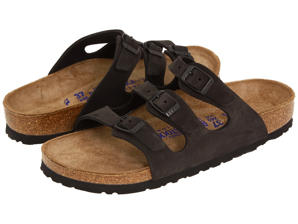 Birkenstock - Florida Soft Footbed - Nubuck (Black Nubuck) Sandals
