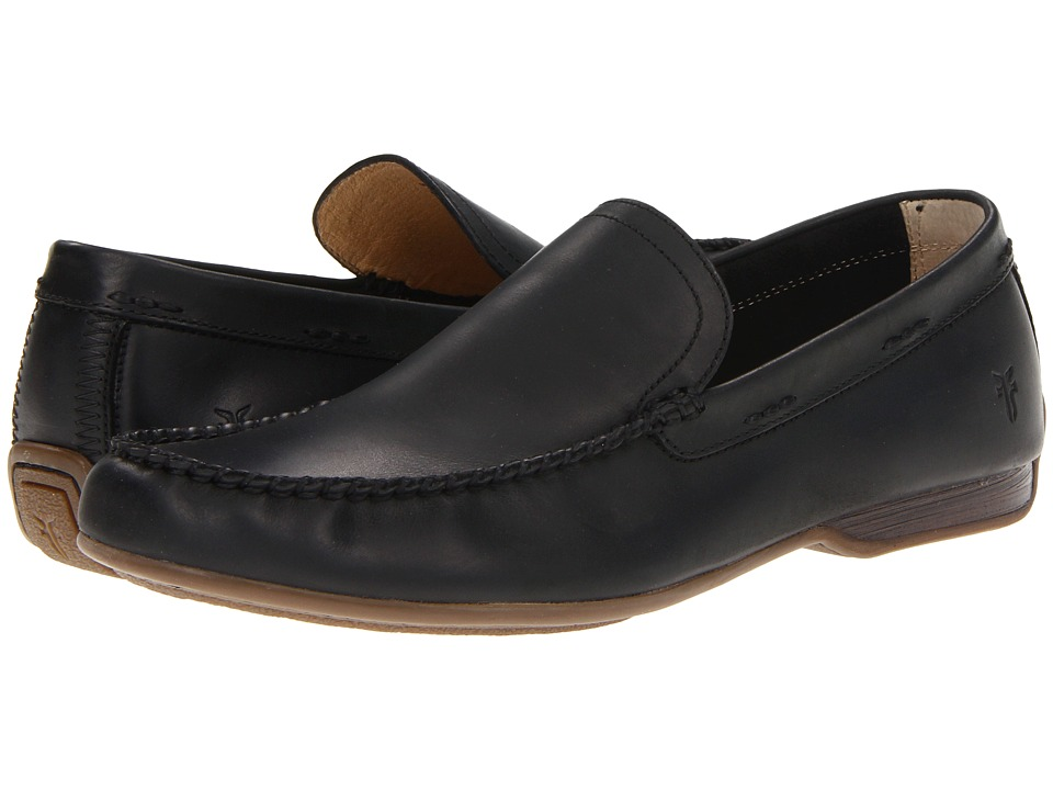 Frye - Lewis Venetian (Black Antique Pull Up) Mens Slip on  Shoes