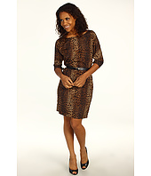 MICHAEL Michael Kors - Persian Leopard Pebble Crepe Boatneck Dress w/ Slit Sleeves