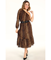 MICHAEL Michael Kors - Persian Leopard Pebble Crepe One Shoulder Peasant Dress