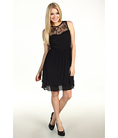Jessica Simpson - Sleeveless Sweetheart Lace Neckline Dress with Piping Detail