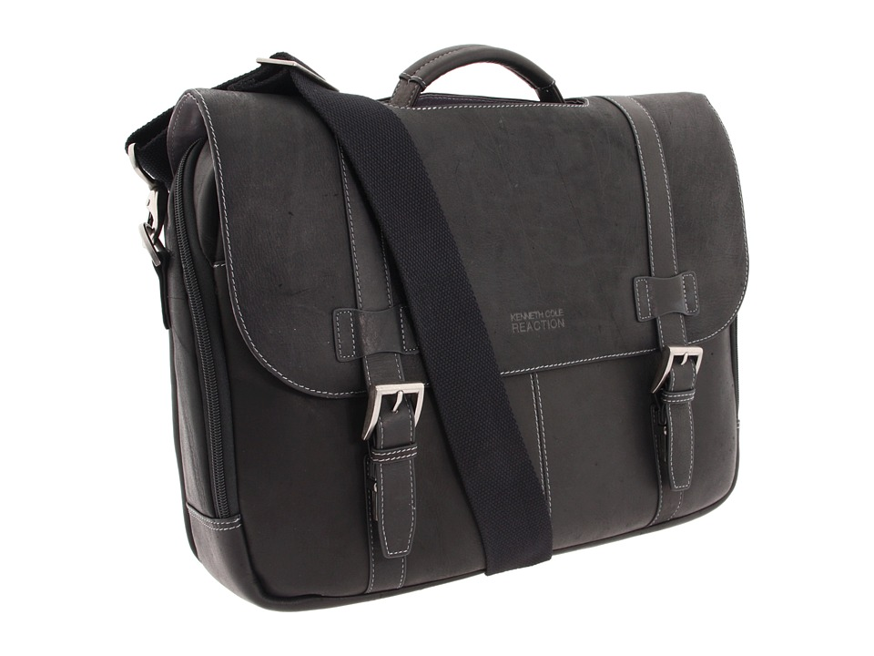 Kenneth Cole Reaction - Colombian Leather - Flapover Portfolio/Computer Case (Black) Computer Bags