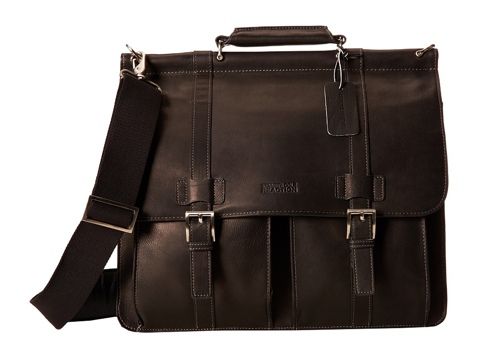 Kenneth Cole Reaction - Colombian Leather - Dowel Rod/Portfolio Computer Case (Black) Briefcase Bags