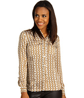MICHAEL Michael Kors - Durham Chain Print L/S Button Front Patch Pocket Top