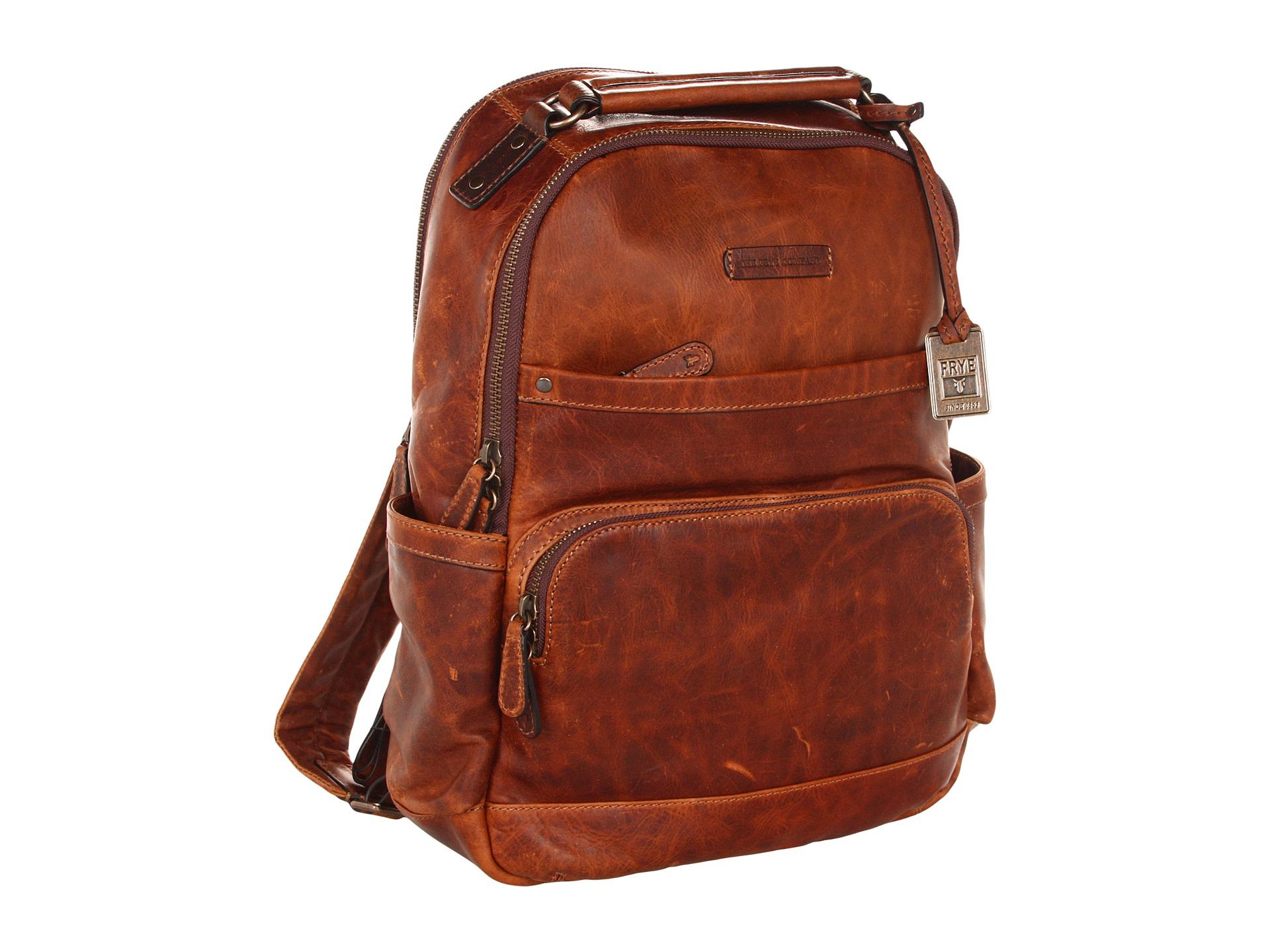 Frye Logan Backpack Cognac Antique Pull Up Zappos Com
