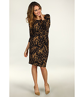 Anne Klein - Leaf Print Faux Wrap Dress