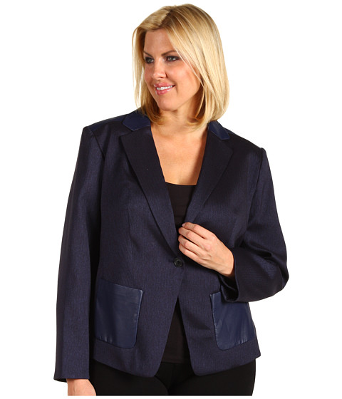 Anne Klein Plus - Plus Size Herringbone Jacket (Navy) - Apparel