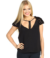 BCBGMAXAZRIA - Sierra Sequin Sleeve Silk Top
