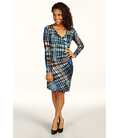 Karen Kane - Plaid Fusion Side Shirred Wrap Dress