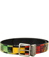 Cheap Vans Scan Check Leather Belt Rasta Fade