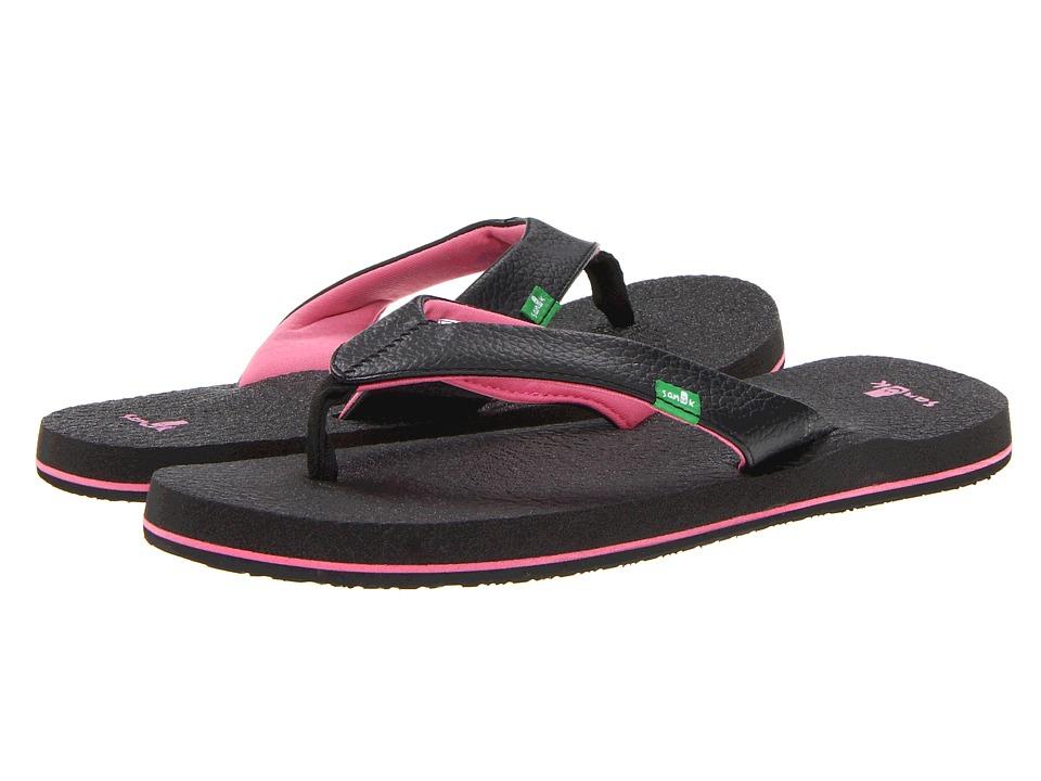 Sanuk Kids Yoga Mat (Little Kid/Big Kid) (Black/Pink) Girls Shoes