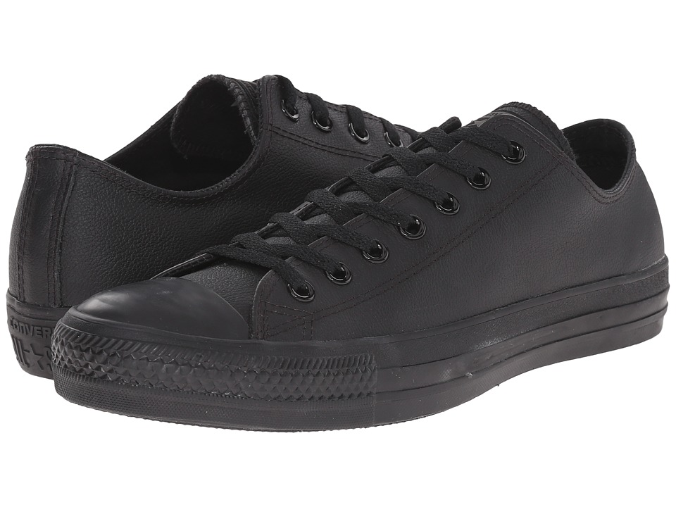 Converse Chuck Taylor All Star Leather Ox Black Monochrome Shoes