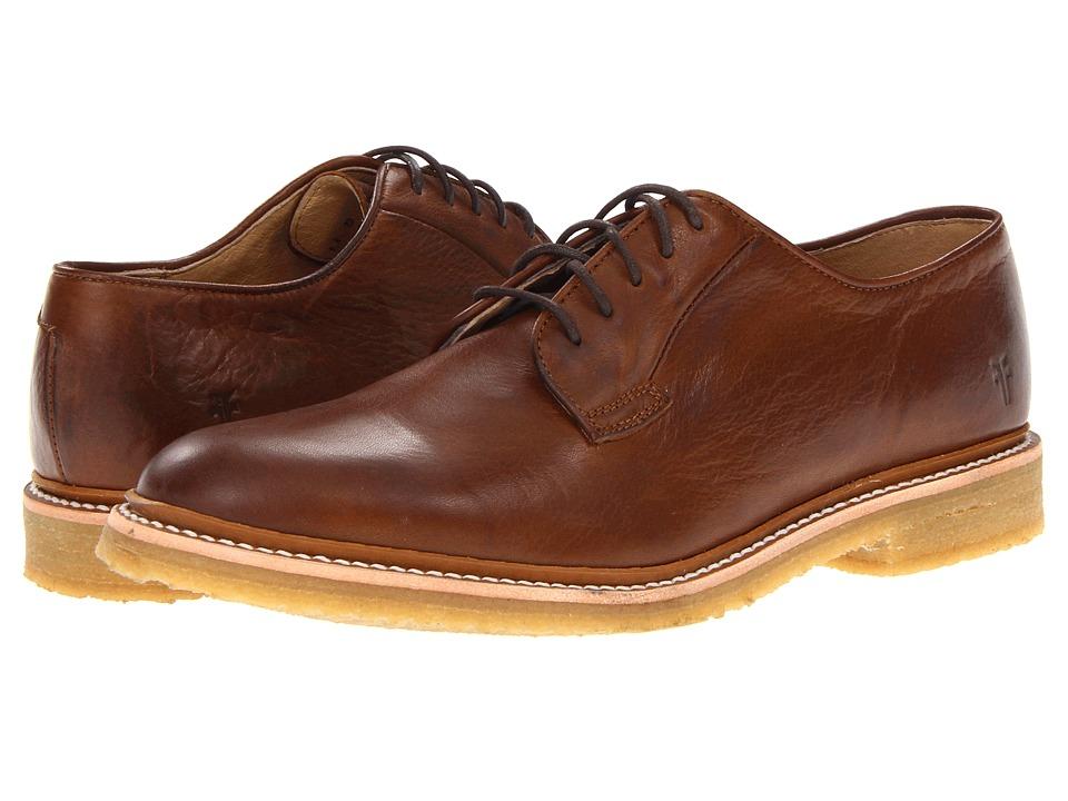 Frye - James Crepe Oxford Cognac Soft Vintage Leather Mens Lace up casual Shoes $258.00 AT vintagedancer.com