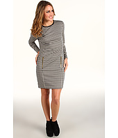 MICHAEL Michael Kors Petite - Petite L/S Dress w/ Leather Trim