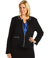 MICHAEL Michael Kors Plus - Plus Size Boiled Boucle Chain Zip Front Jacket