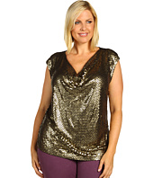 MICHAEL Michael Kors Plus - Plus Size Cap Sleeve Sequin Drape Top