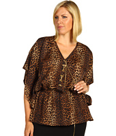 MICHAEL Michael Kors Plus - Plus Size Persian Leopard Pebble Crepe Top