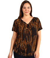 MICHAEL Michael Kors Plus - Plus Size English Pheasant S/S Cowl Neck Top
