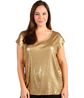 MICHAEL Michael Kors Plus - Plus Size Sequin Cap Sleeve Wedge Top
