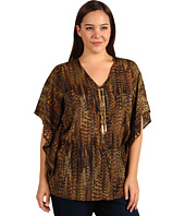 MICHAEL Michael Kors Plus - Plus Size English Pheasant V-Neck Lace Front Top