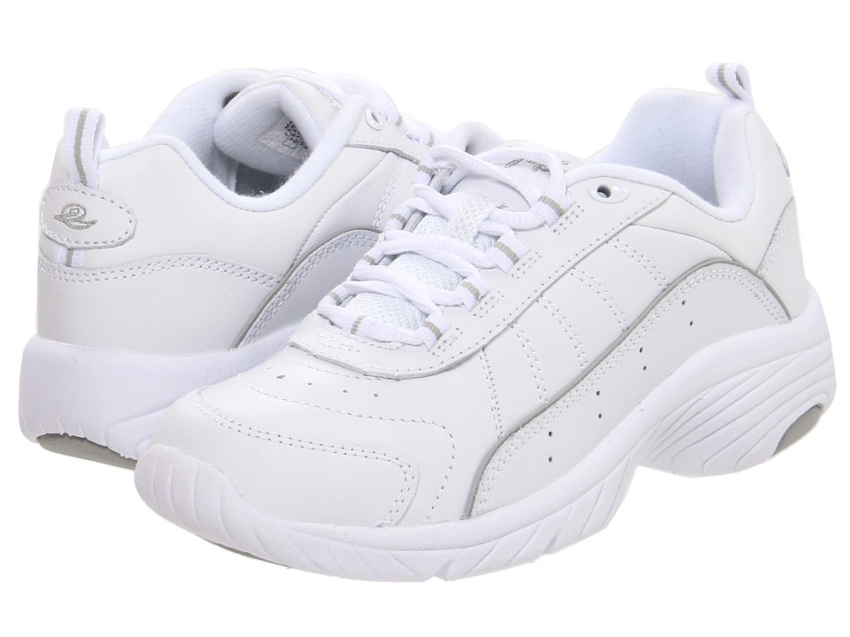 Easy Spirit - Punter (White/Light Grey Leather) Womens Walking Shoes