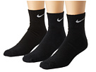 Nike - Cotton Cushion Quarter with Moisture Management 3-Pair Pack (Black/White)