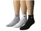 Nike - Cotton Cushion Quarter with Moisture Management 3-Pair Pack (Grey Heather/Black/White/Black/Black/White)
