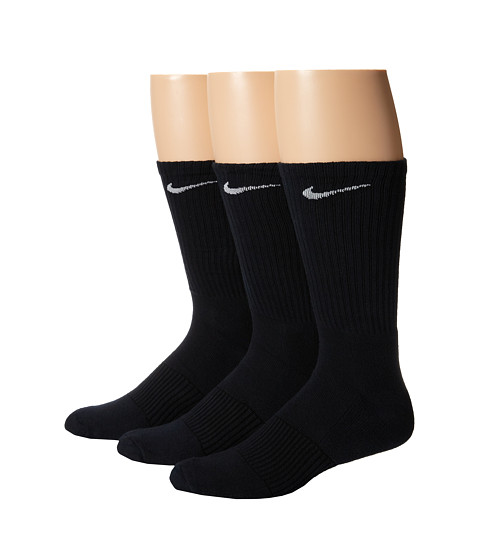Nike Cotton Cushion Crew with Moisture Management 3-Pair Pack - Black/White