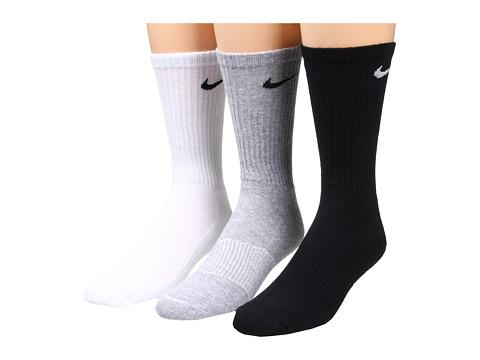 Nike Cotton Cushion Crew with Moisture Management 3-Pair Pack - Grey Heather/Black/White/Black/Black/White