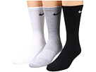 Nike - Cotton Cushion Crew with Moisture Management 3-Pair Pack (Grey Heather/Black/White/Black/Black/White)