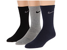 Nike - Cotton Lightweight Crew with Moisture Management 3-Pair Pack (Grey Heather/Black/Obsidian/Nano Grey/Black/Nano Grey)