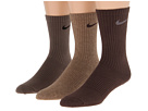 Nike Cotton Lightweight Crew with Moisture Management 3-Pair Pack (Sandalwood Heather/Baroque Brown/Baroque Brown/Nano Grey)