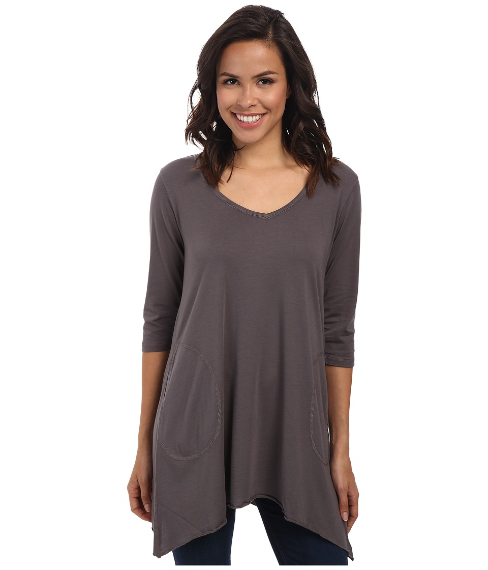 Allen Allen 3/4 Sleeve V-Angled Tunic (Dark Grey) Women