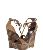 Burberry - Bow Detail Check Wedge Sandals