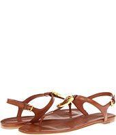 Burberry - Equestrian Buckle Flat Leather Sandals