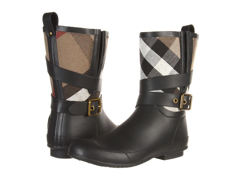 Burberry Brit Check Biker Boots Black/Check Womens Rain Boots