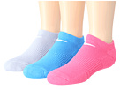 Nike - Cotton Cushioned No Show with Moisture Management 3-Pair Pack (Wolf Grey/White/Pink/White/Light Photo Blue/White)