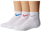 Nike - Cotton Cushioned Quarter with Moisture Management 3-Pair Pack (White/Wolf Grey/White/Pink/White/Light Photo Blue)