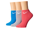 Nike - Cotton Cushioned Quarter with Moisture Management 3-Pair Pack (Wolf Grey/White/Pink/White/Light Photo Blue/White)