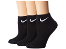 Nike - Cotton Cushioned Quarter with Moisture Management 3-Pair Pack (Black/White)