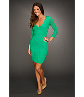 Catherine Malandrino - Three-Quarter Sleeve Deep V-Neck Mixed Pointelle Dress